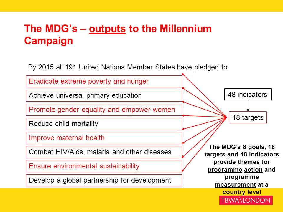 The MDG's – outputs to the Millennium Campaign
