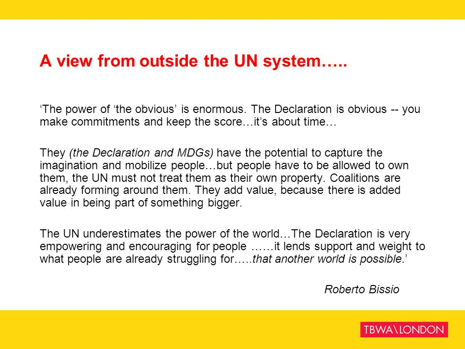 A view from outside the UN system…..