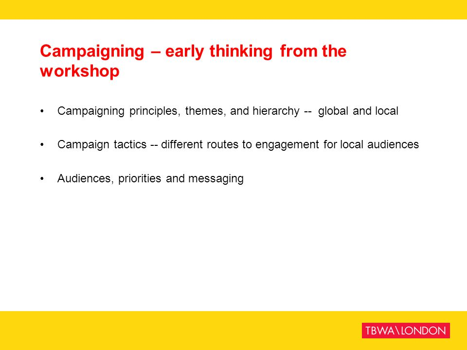 Campaigning – early thinking from the workshop