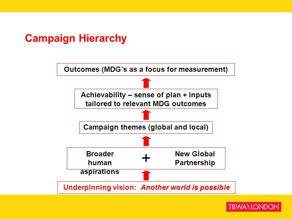 + Campaign Hierarchy Outcomes (MDG's as a focus for measurement)