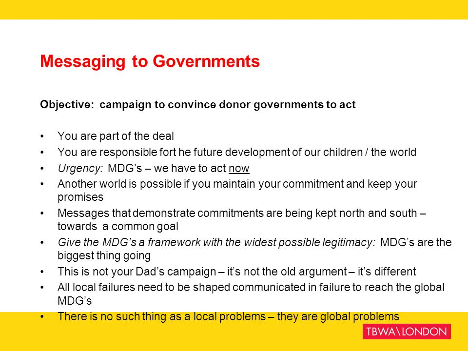 Messaging to Governments