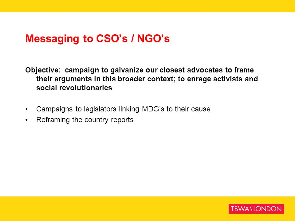 Messaging to CSO's / NGO's