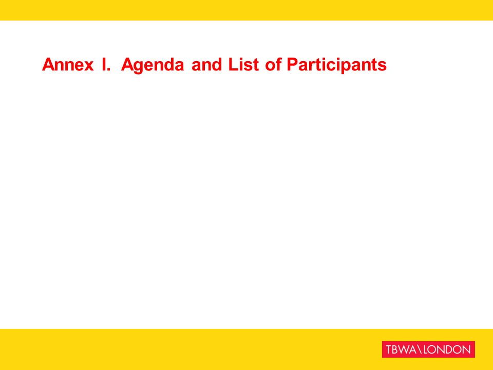 Annex I. Agenda and List of Participants