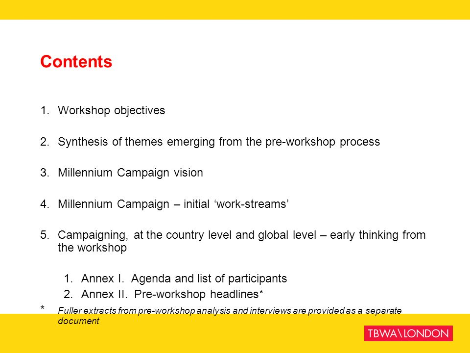 Contents 1. Workshop objectives