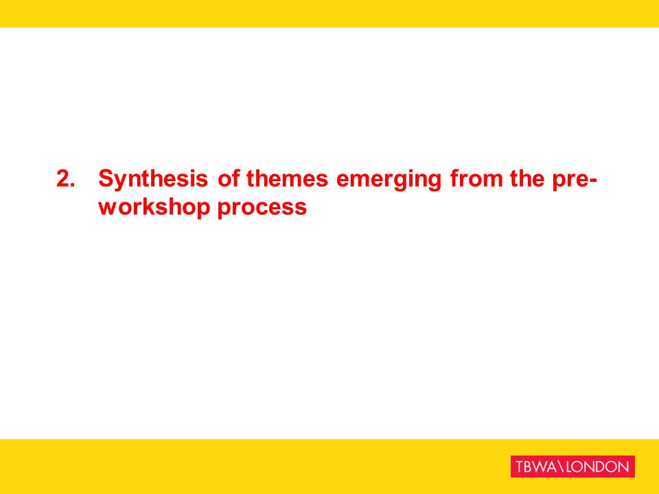 2. Synthesis of themes emerging from the pre- workshop process