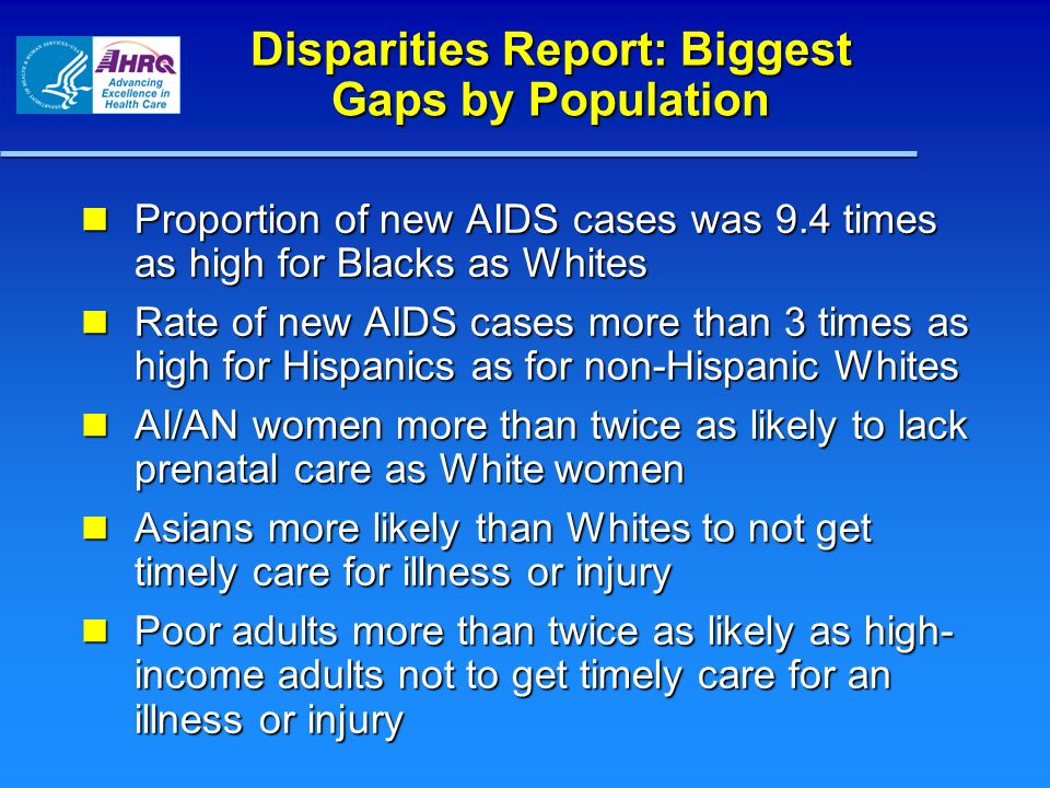 Disparities Report: Biggest Gaps by Population
