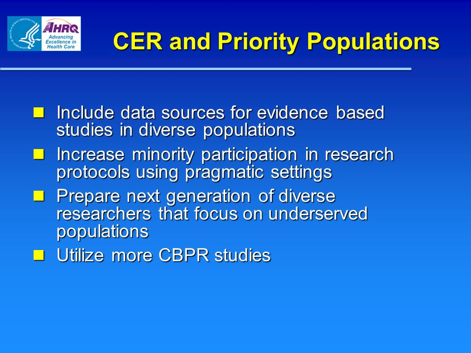 CER and Priority Populations