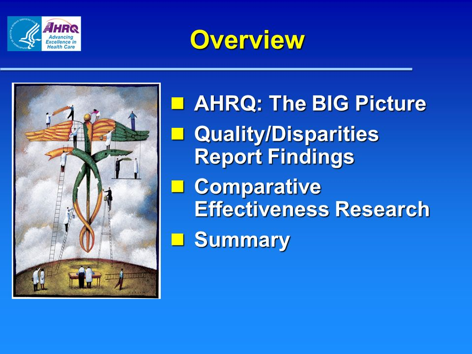 Overview AHRQ: The BIG Picture Quality/Disparities Report Findings