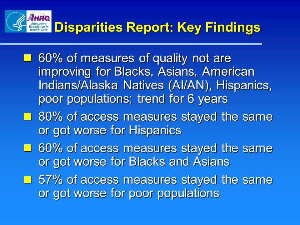 Disparities Report: Key Findings