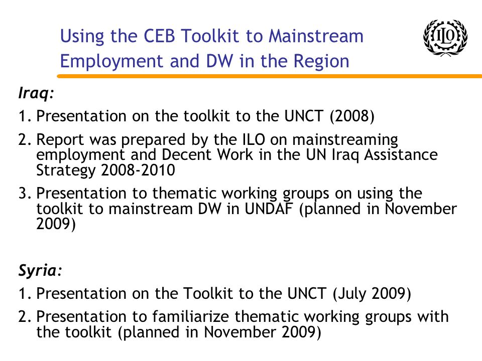 Using the CEB Toolkit to Mainstream Employment and DW in the Region