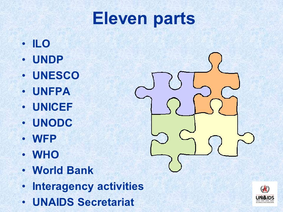 Eleven parts ILO UNDP UNESCO UNFPA UNICEF UNODC WFP WHO World Bank