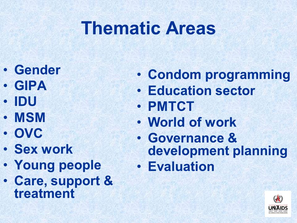 Thematic Areas Gender Condom programming GIPA Education sector IDU