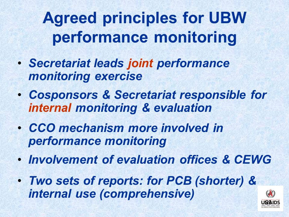 Agreed principles for UBW performance monitoring