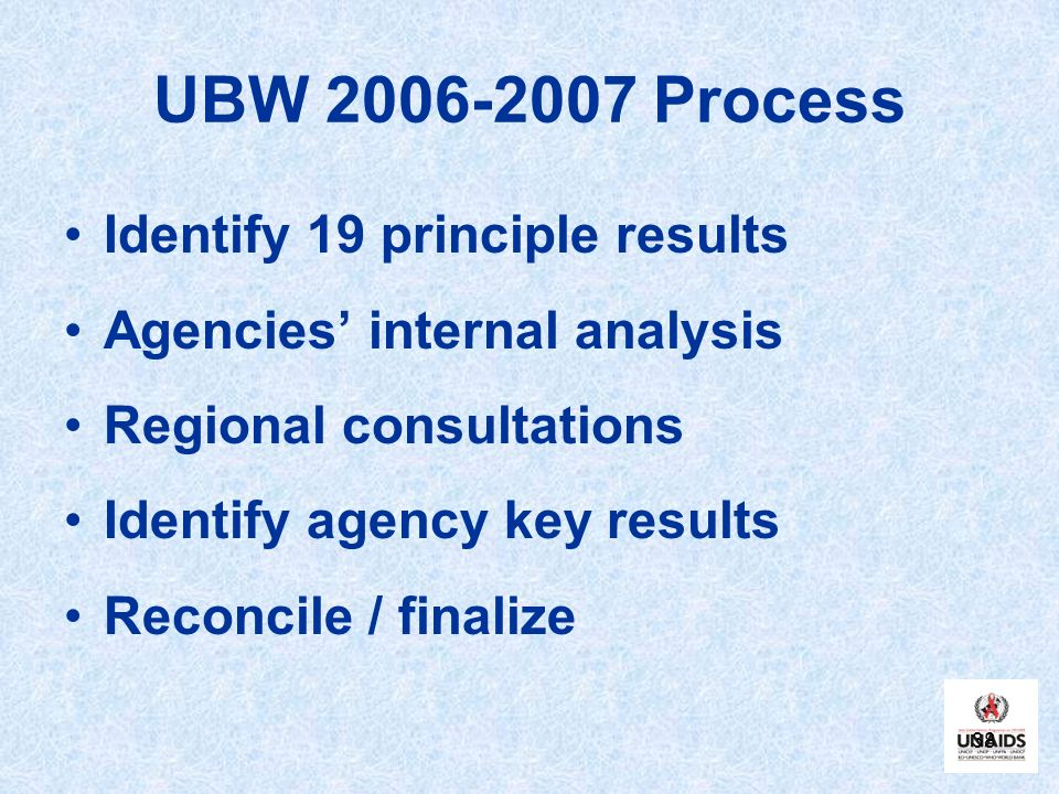 UBW Process Identify 19 principle results