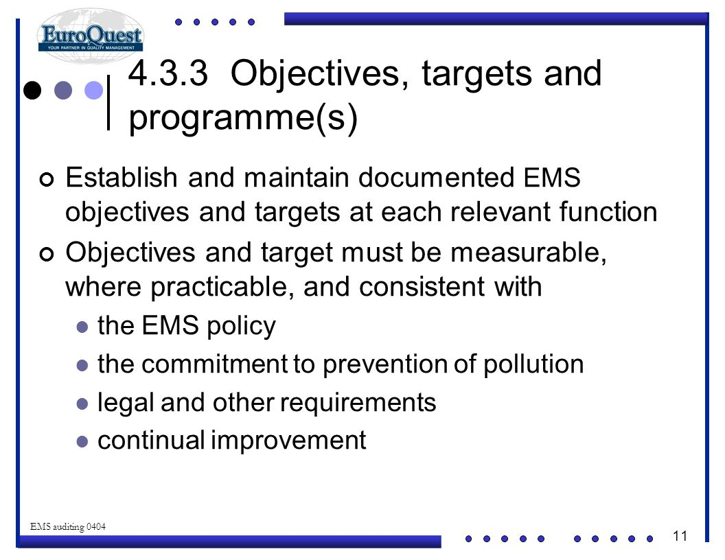 4.3.3 Objectives, targets and programme(s)