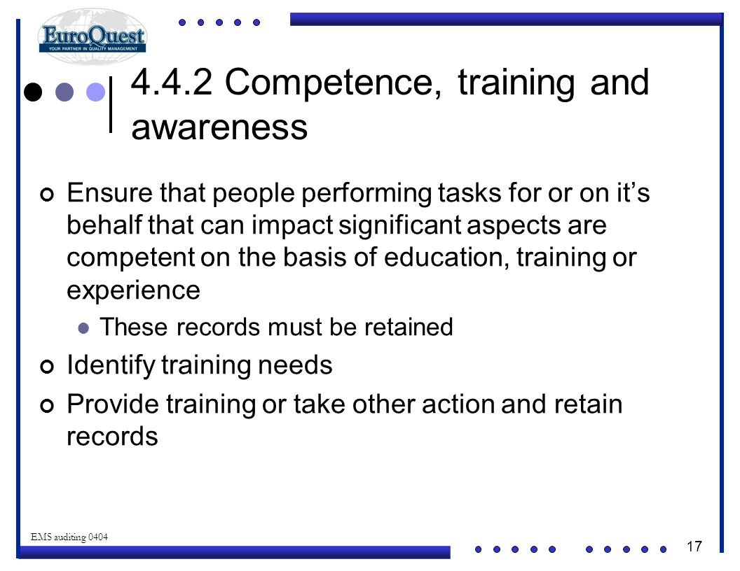 4.4.2 Competence, training and awareness