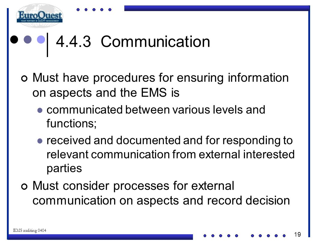 4.4.3 Communication Must have procedures for ensuring information on aspects and the EMS is. communicated between various levels and functions;