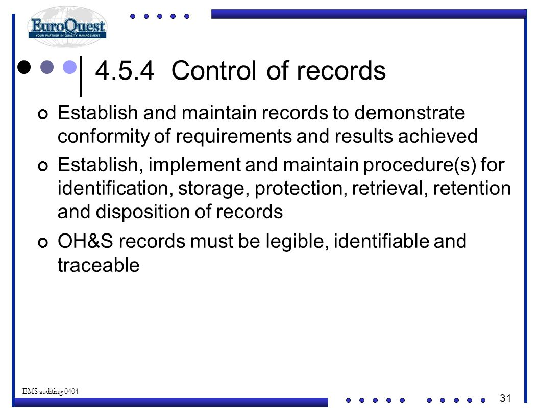 4.5.4 Control of records Establish and maintain records to demonstrate conformity of requirements and results achieved.