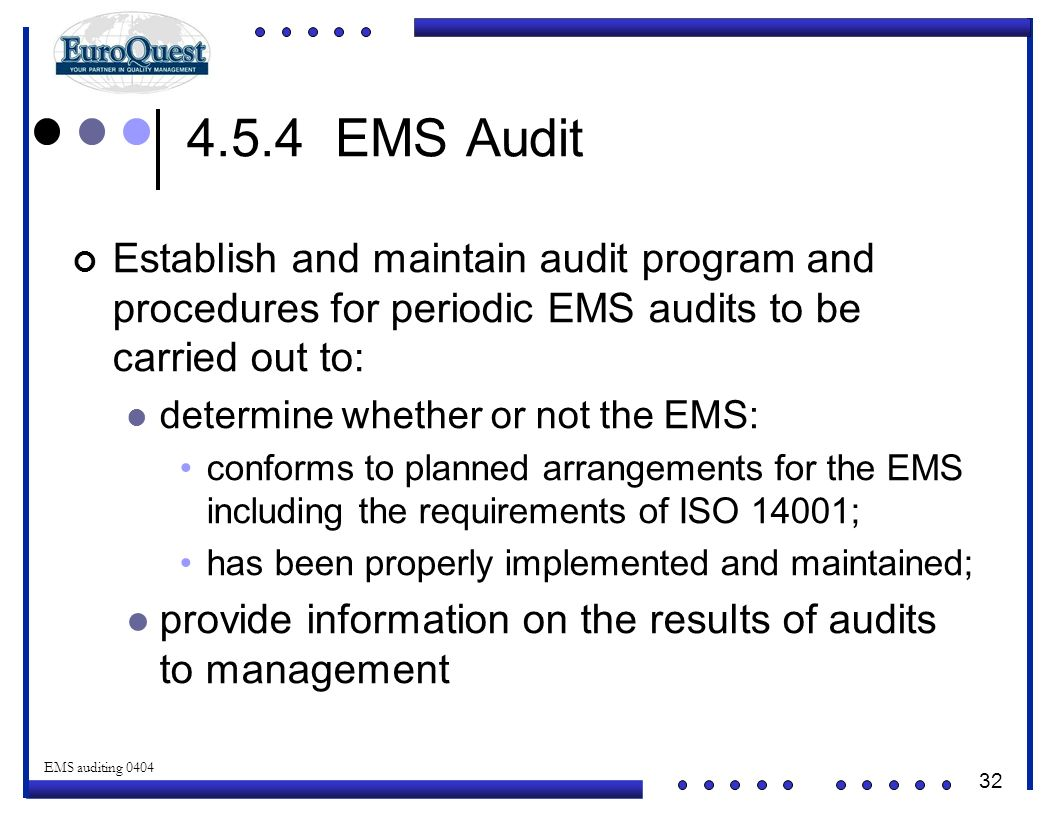4.5.4 EMS Audit Establish and maintain audit program and procedures for periodic EMS audits to be carried out to: