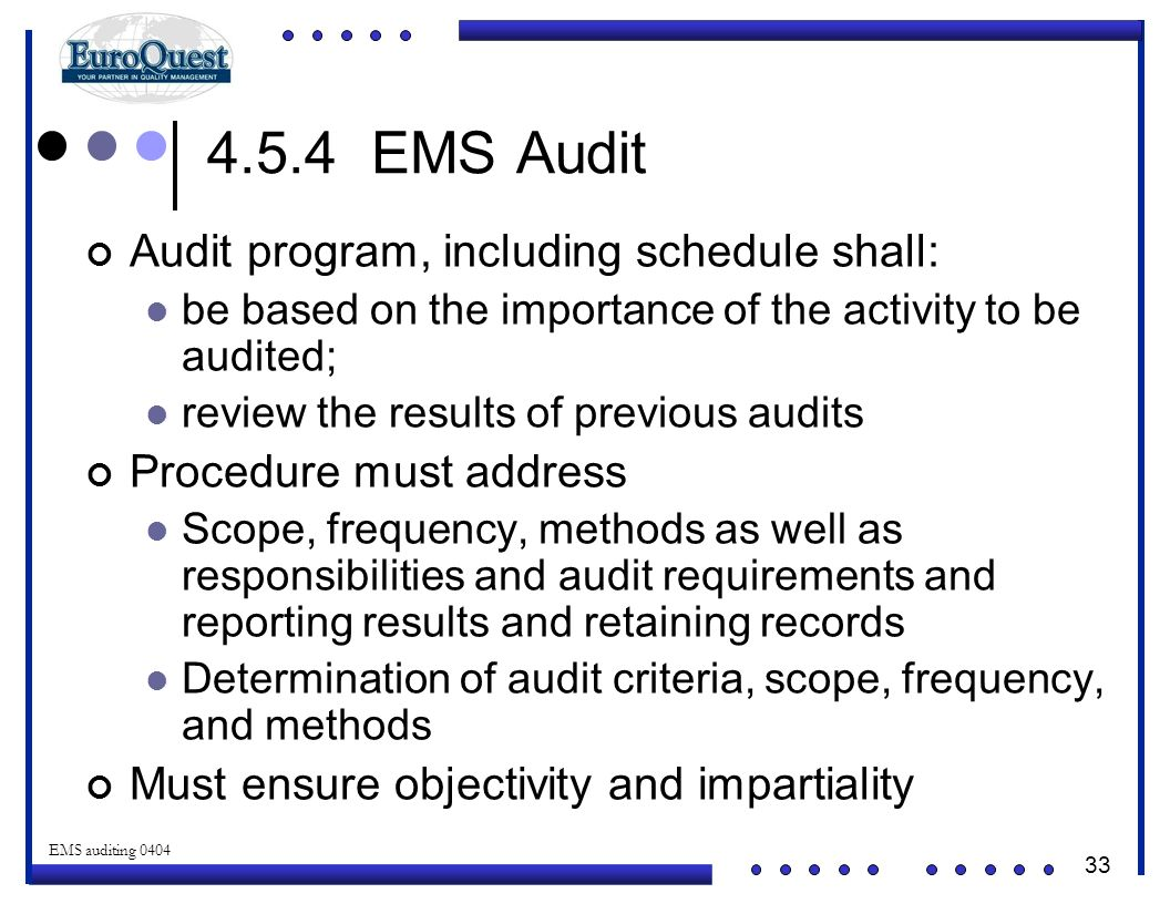 4.5.4 EMS Audit Audit program, including schedule shall: