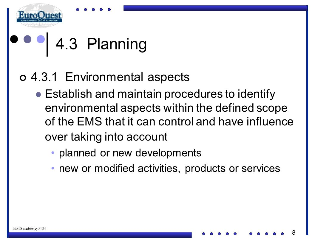 4.3 Planning 4.3.1 Environmental aspects