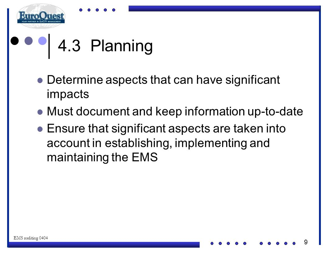 4.3 Planning Determine aspects that can have significant impacts
