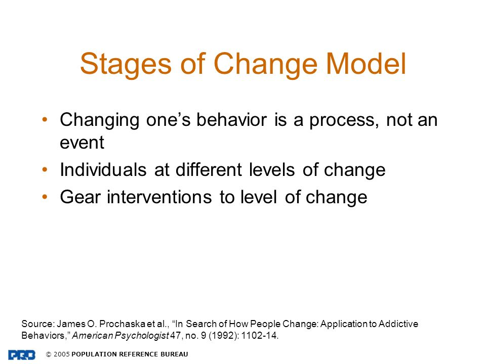 Stages of Change Model Changing one's behavior is a process, not an event. Individuals at different levels of change.