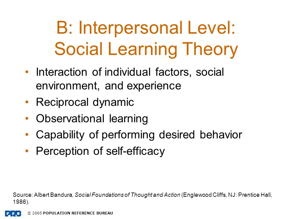 B: Interpersonal Level: Social Learning Theory