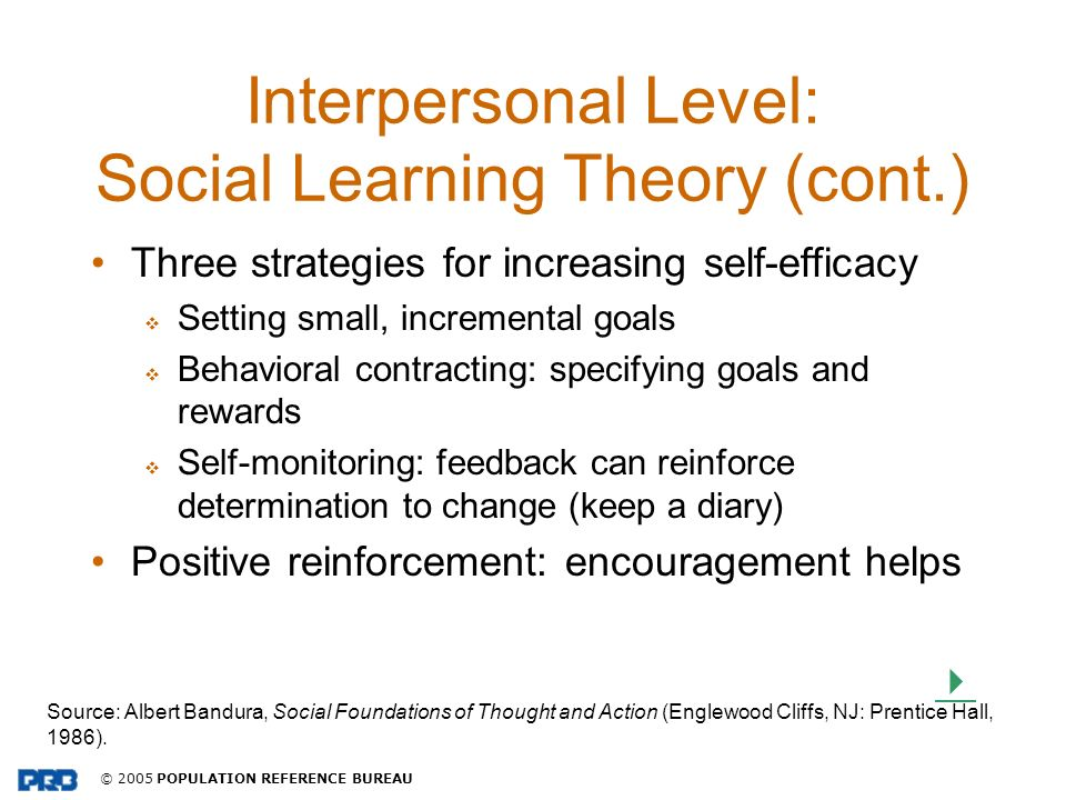 Interpersonal Level: Social Learning Theory (cont.)