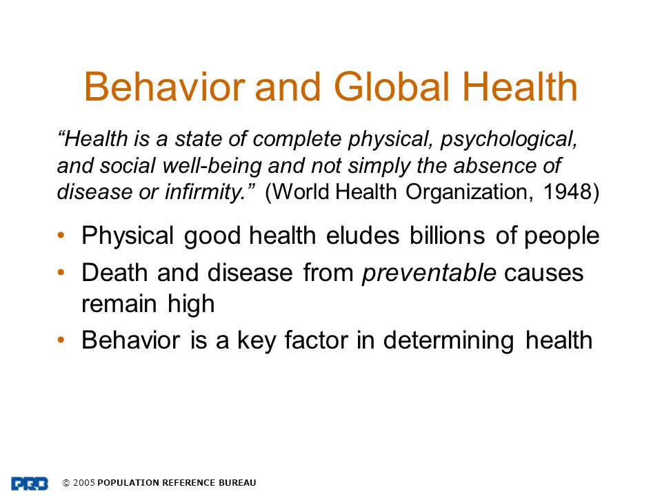 Behavior and Global Health