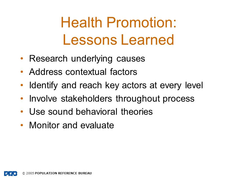 Health Promotion: Lessons Learned