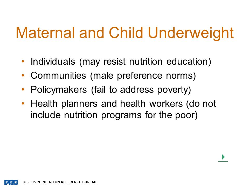 Maternal and Child Underweight