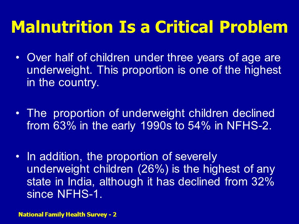 Malnutrition Is a Critical Problem