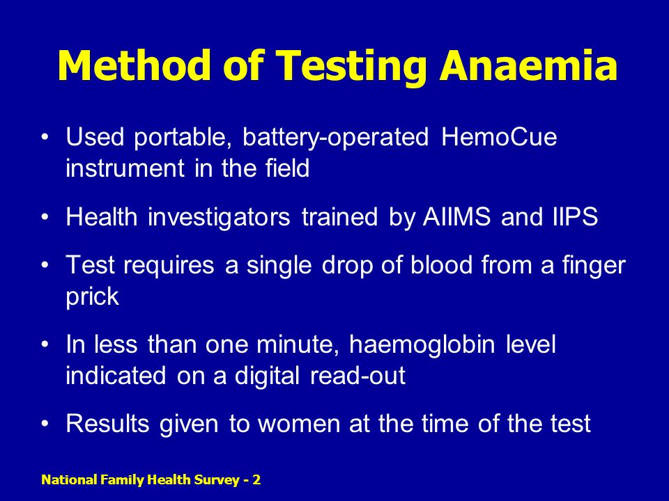 Method of Testing Anaemia