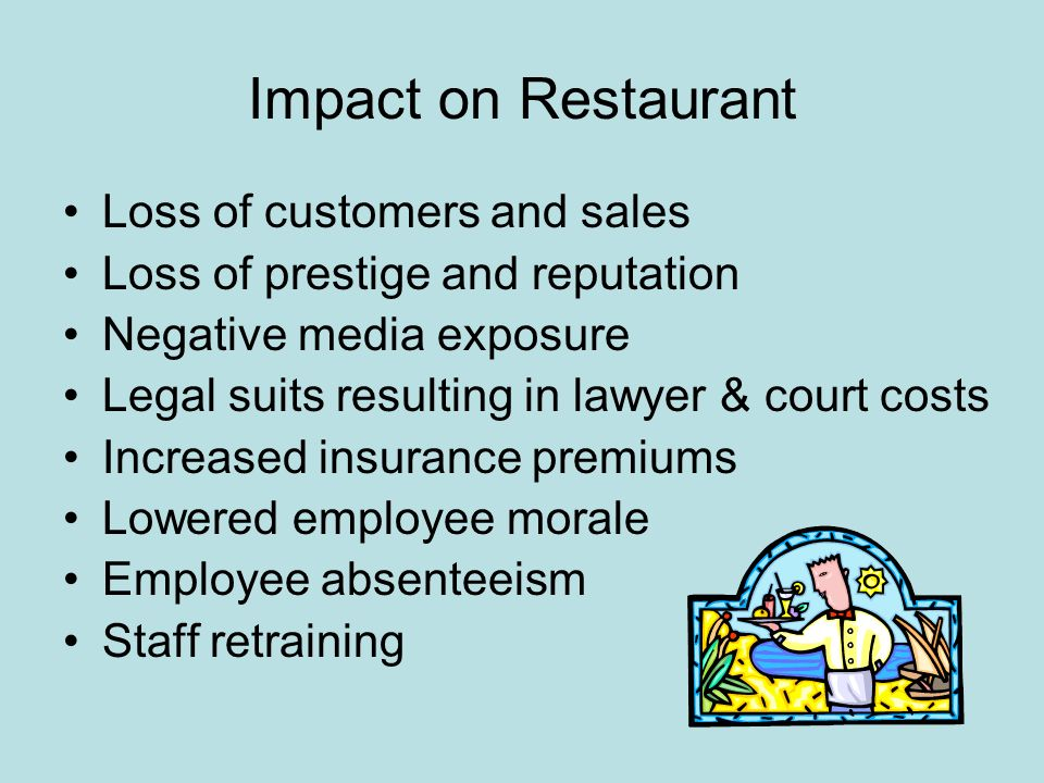 Impact on Restaurant Loss of customers and sales