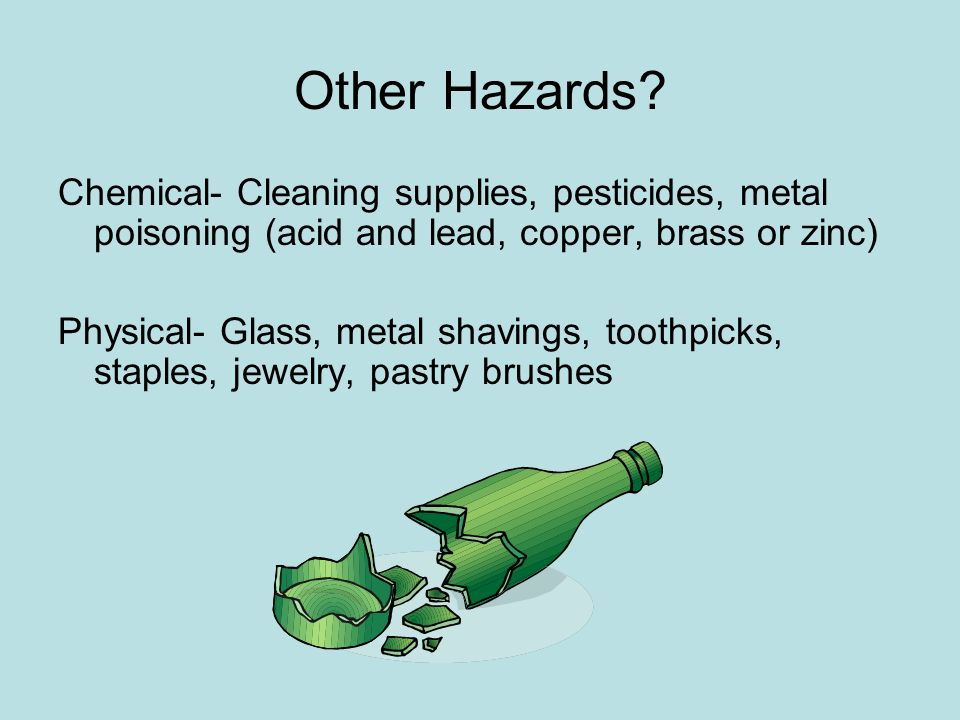 Other Hazards Chemical- Cleaning supplies, pesticides, metal poisoning (acid and lead, copper, brass or zinc)