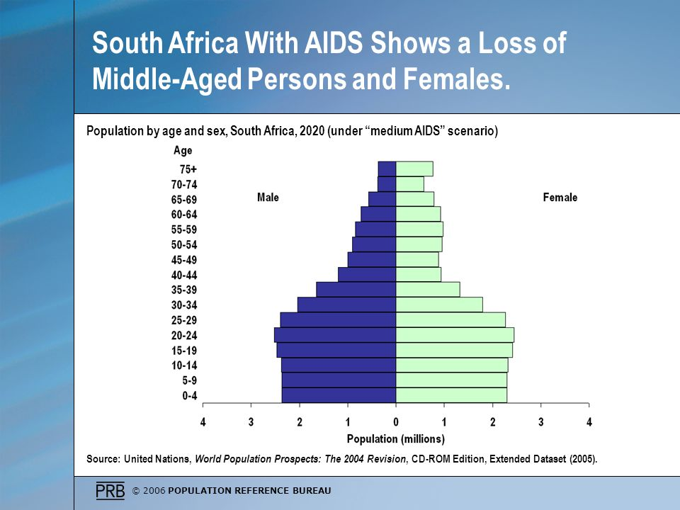 South Africa With AIDS Shows a Loss of Middle-Aged Persons and Females.