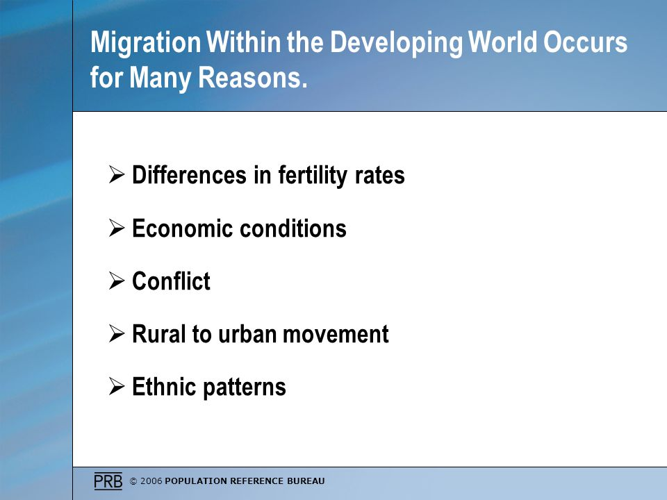 Migration Within the Developing World Occurs for Many Reasons.