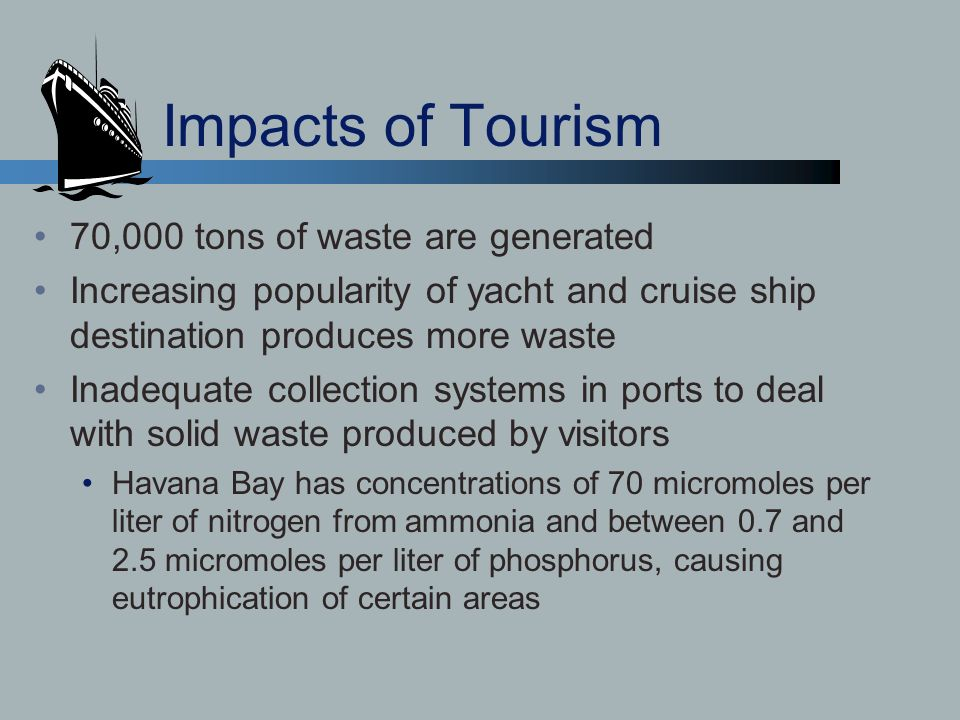 Impacts of Tourism 70,000 tons of waste are generated