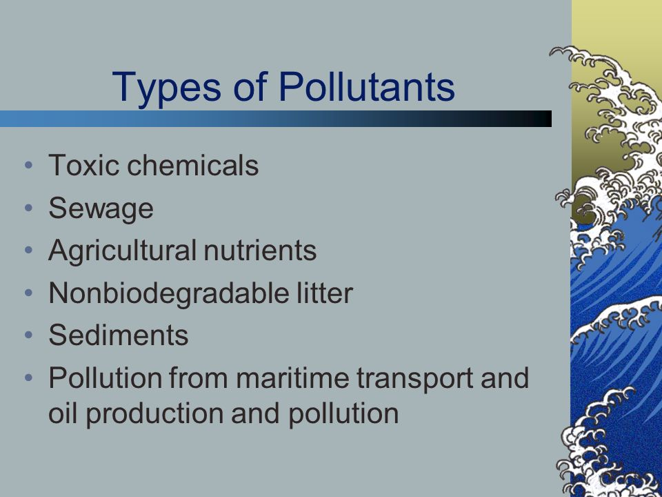 Types of Pollutants Toxic chemicals Sewage Agricultural nutrients