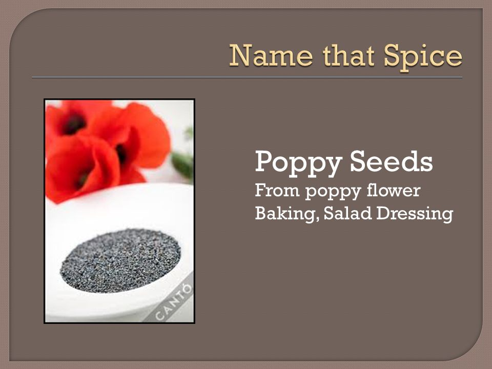 Name that Spice Poppy Seeds From poppy flower Baking, Salad Dressing