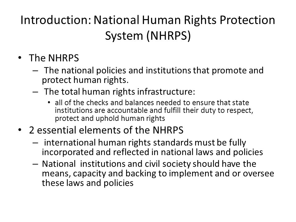 Introduction: National Human Rights Protection System (NHRPS)