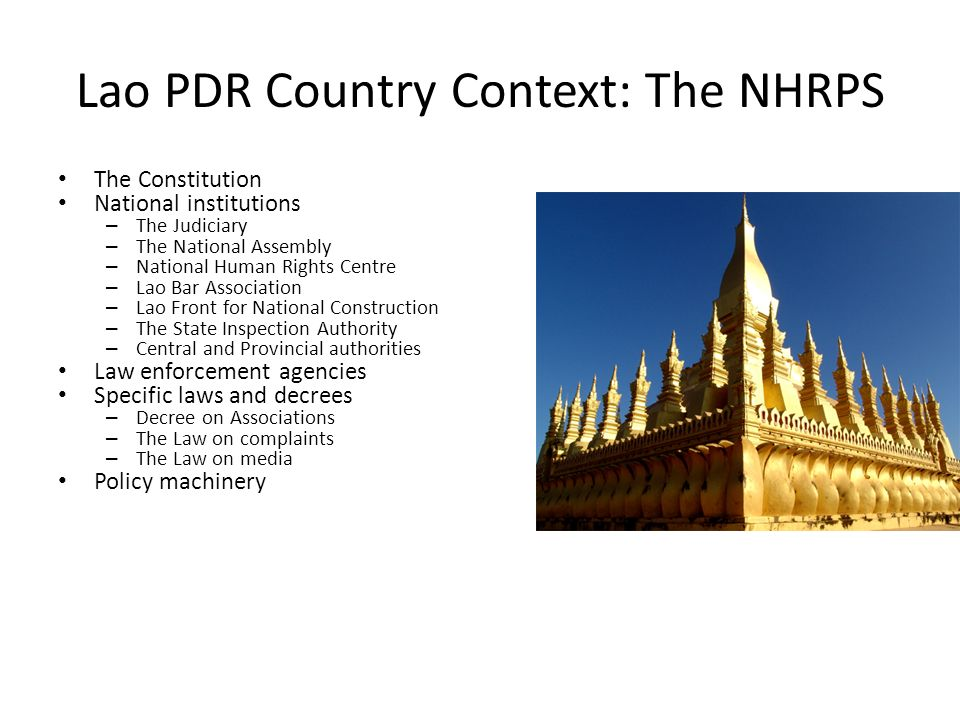 Lao PDR Country Context: The NHRPS