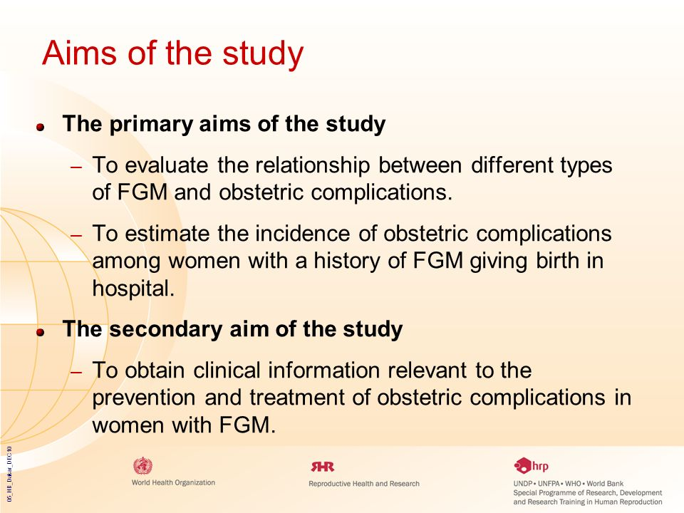 Aims of the study The primary aims of the study