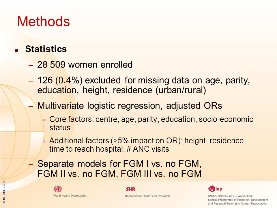 Methods Statistics 28 509 women enrolled