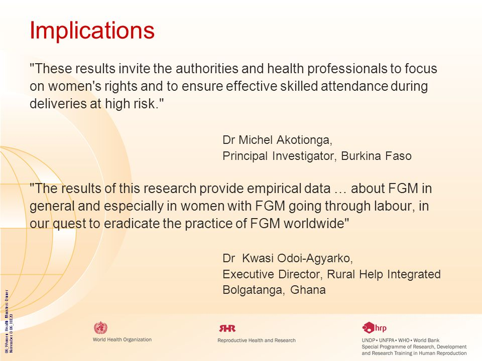 Implications These results invite the authorities and health professionals to focus.