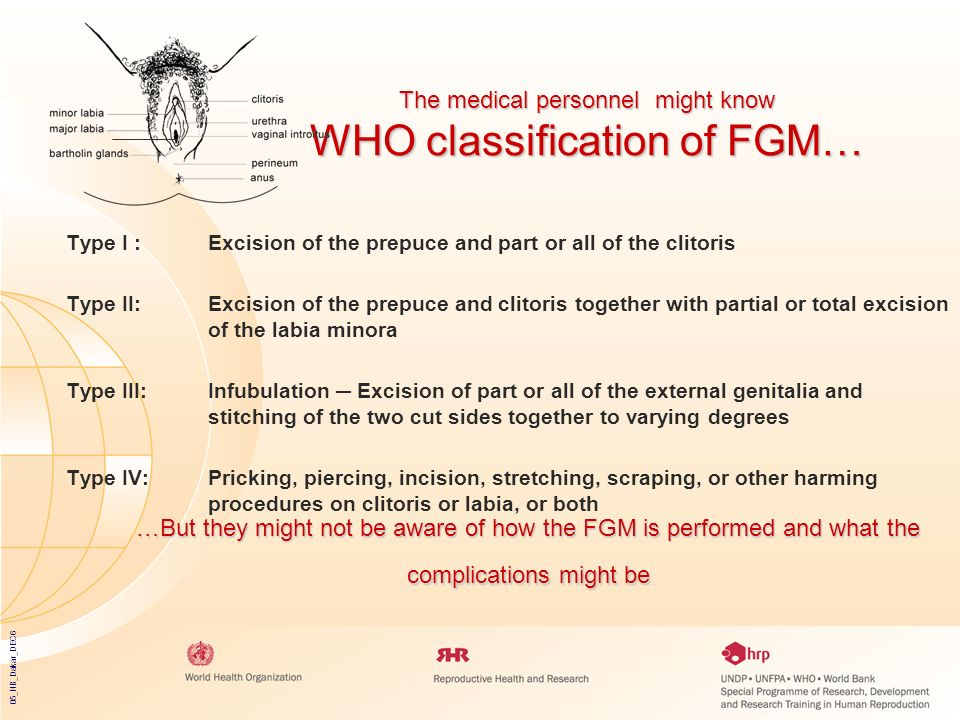 The medical personnel might know WHO classification of FGM…