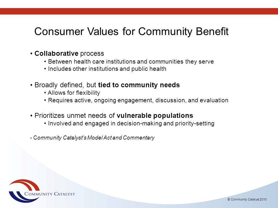 Consumer Values for Community Benefit