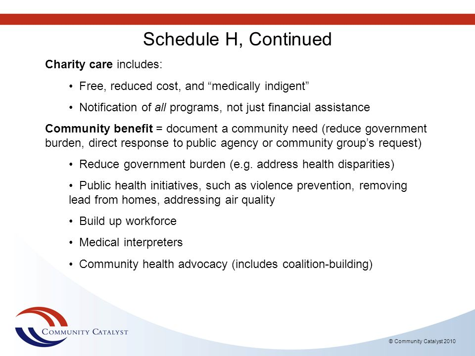 Schedule H, Continued Charity care includes: