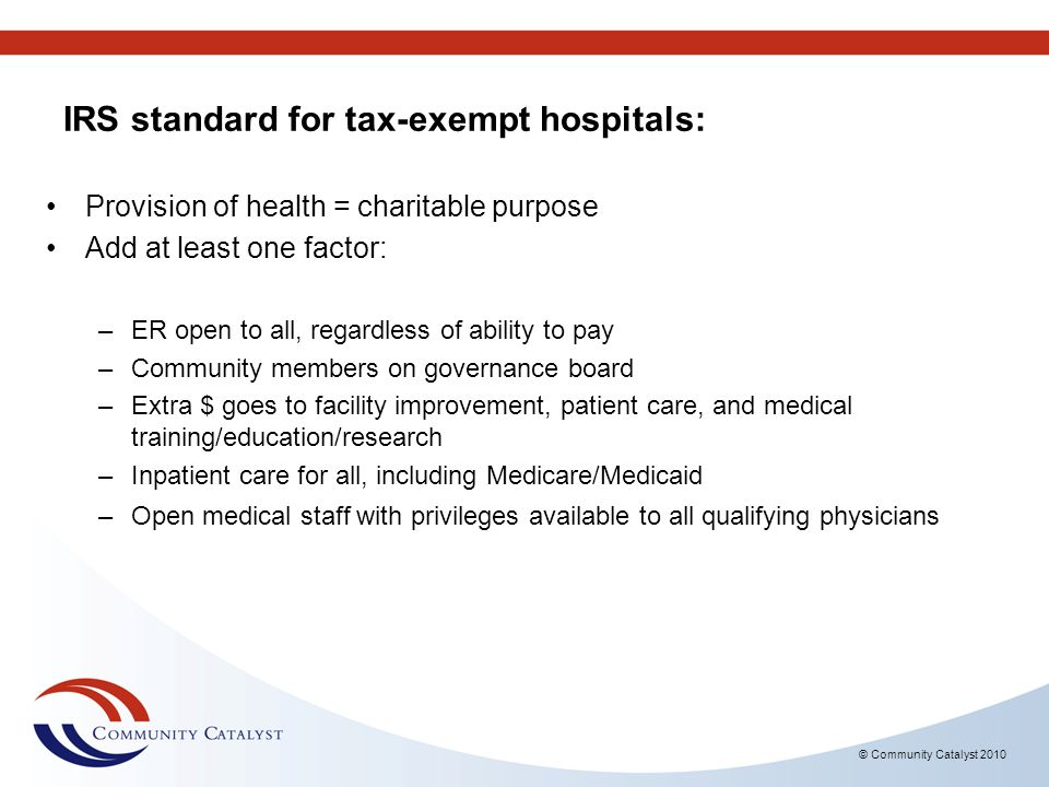 IRS standard for tax-exempt hospitals: